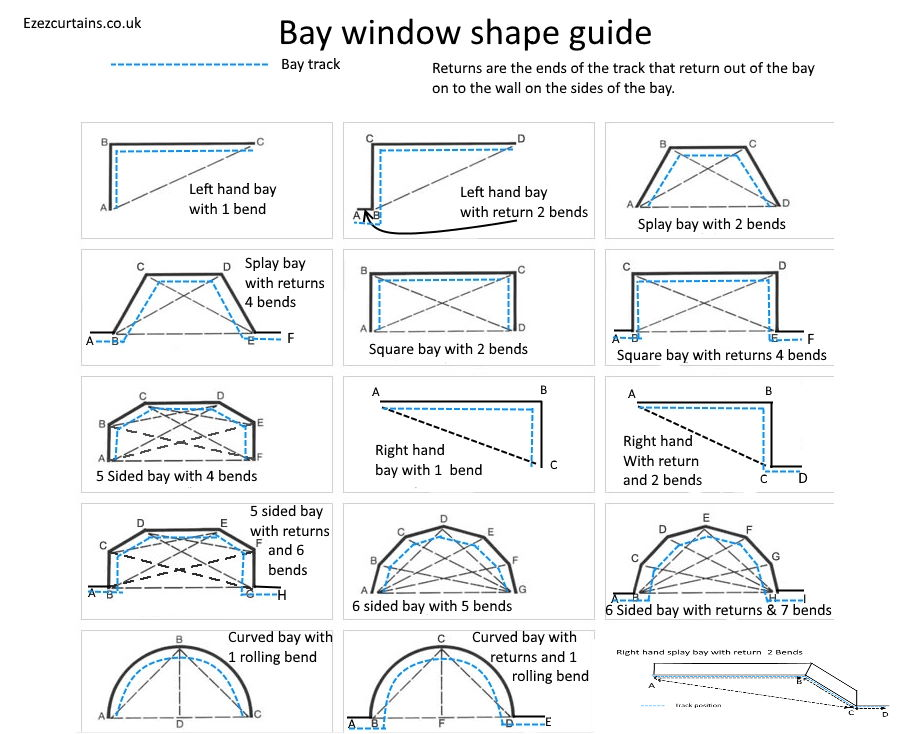 Bay window curtain track shapes