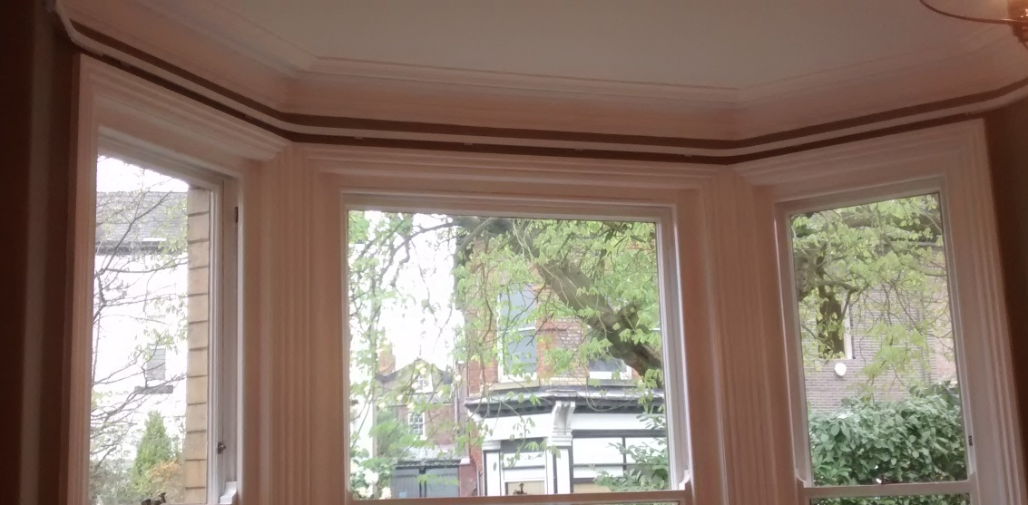 custom made metal bay window curtain track. Made to measure to fit your window perfectly.