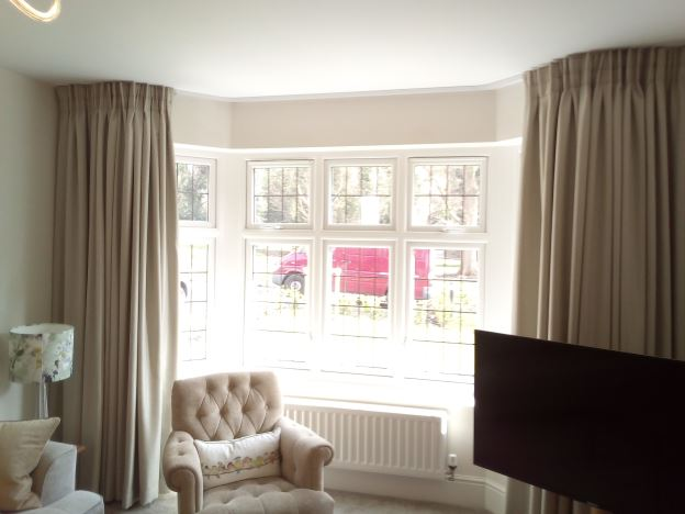 Long bay curtains open and close with ease on our bay window curtain tracks.