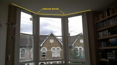 Bay window curtain track internal bends
