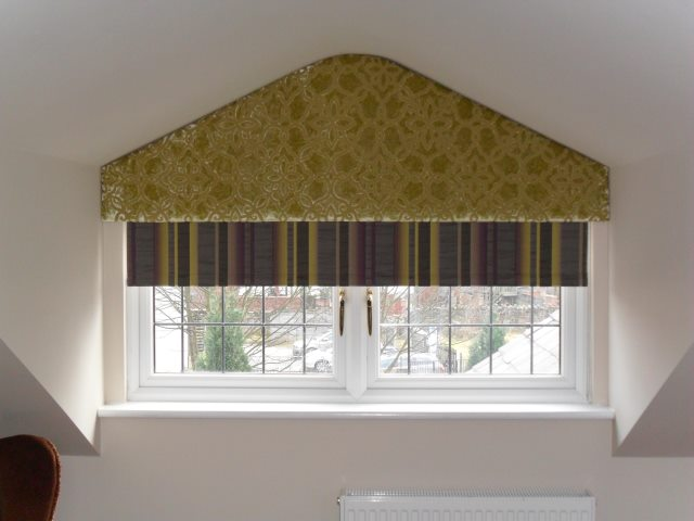 odd shape curtain pelmets to fit dormer attic windows. This gives an awkward shaped window a real boost.